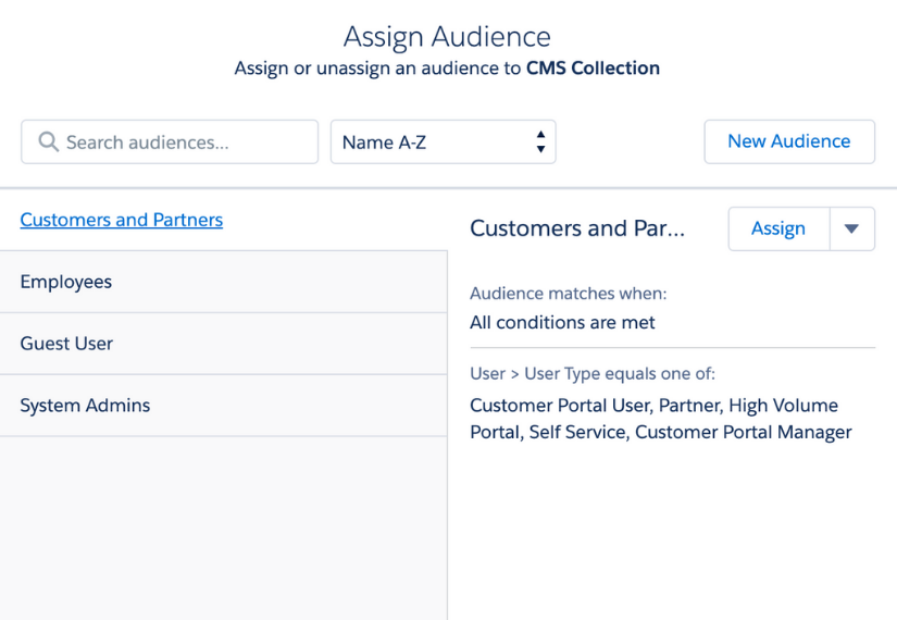 Salesforce CMS Assign Audience