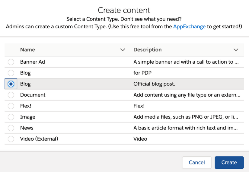 Salesforce CMS Content Tab